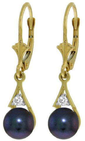 14k Gold Leverback Earrings with Genuine Diamonds & Black Pearls