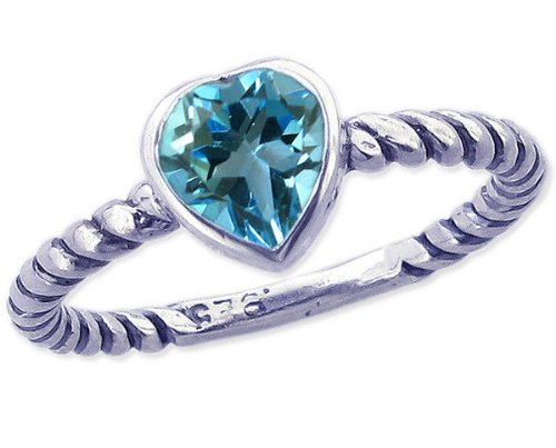 Twisted Sterling Silver Stackable Ring with Sweet Heart Genuine Stone-Swiss Blue Topaz-in full,half,quarter sizes from 3.5 to 12_11.5