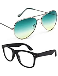 Unisex Uv Protected Combo Pack Of Aviator Sunglasses And Clear Wayfarer Sunglasses ( Green Gridnt - Clear Black...