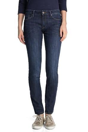ESPRIT Damen Skinny Jeans in schöner Waschung, Gr. W27/L32, Blau (E DIVING BLUE)