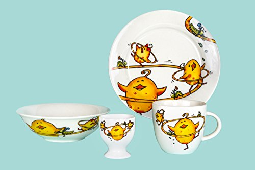Porcelain Dinnerware Kid's Set - Yellow Chicken 4-piece Set - Plate, Bowl, Mug, and Egg Cup