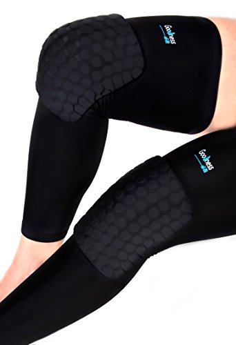 goodness-of-fit-compression-leg-sleeve-with-turtleback-knee-brace-pads-for-basketball-etc-black-larg