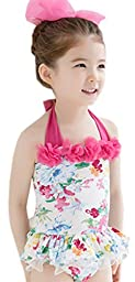 Cutey Girls Floral Petals One Piece Halter Bikini Bathing Suit L
