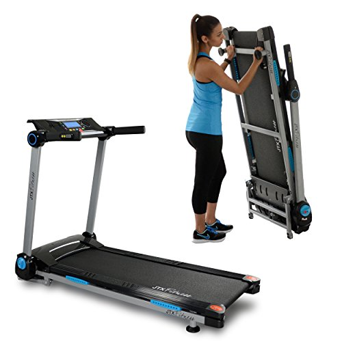 JTX Slim Line: FLAT FOLDING TREADMILL. Compact, Motorised Treadmill with Digital Incline....