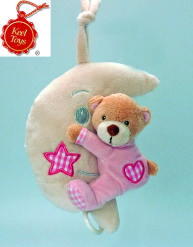 BuySurprise Present - Deluxe Soft and Plush Bear on the Moon Musical Toy - Great Gift for Baby Girl