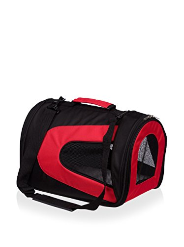 Pet Life Airline Approved Sporty Zippered Mesh Pet Carrier Red/black