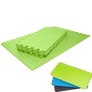 Schutzmatten Set von #DoYourFitness mit 6 Puzzlematten 6 Steckelementen á 60 x 60 x 1,2 cm (ca. 2,2m²) - Unterlegmatten / sicherer Bodenschutz für Sportgeräte, Gymnastikräume, Keller - Matten Schutz vor Kratzern, Dellen, Kälte, Lärm, Flüssigkeit / grün