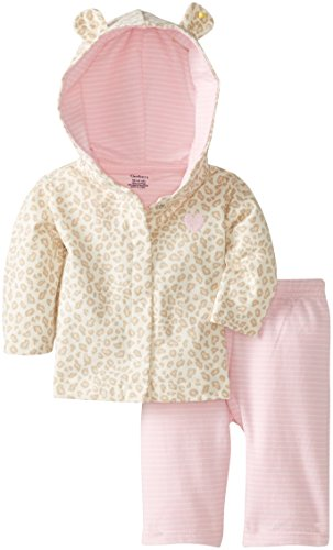 Gerber Baby-Girls Newborn Hooded Cardigan And Pant Set, Leopard Print, New Born front-736176