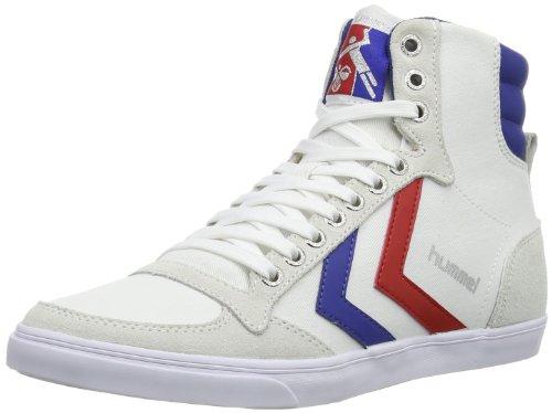 hummel HUMMEL SLIMMER STADIL HIGH, Unisex-Erwachsene Hohe Sneakers, Weiß (White/Blue/Red/Gum), 43 EU (9 Erwachsene UK)