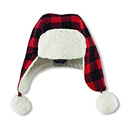 Mud Pie Boys Buffalo Check Flannel Hat Sherpa Lining and Accents, 2T-5T Months