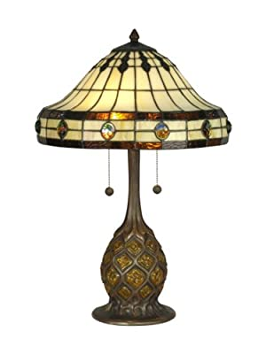 Dale Tiffany TT90432 Tiffany Table Lamp, Antique Bronze/Verde and Art Glass Shade