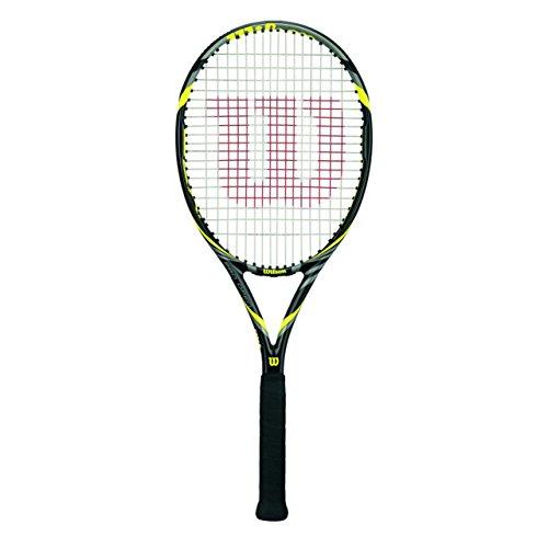Wilson 0070300296800002 - Racchetta da tennis per tornei incordata Pro Open 100, colore: antracite