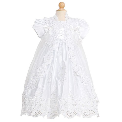 Rain Kids Toddler Girl 2T White Puff Sleeve Sequin Pearl Baptism Dress front-989827