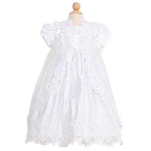 Rain Kids Toddler Girl 2T White Puff Sleeve Sequin Pearl Baptism Dress front-615408