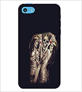 PrintDhaba Skull with Girls D-1065 Back Case Cover for APPLE IPHONE 5C (Multi-Coloured)