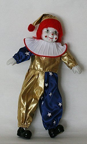 Clown Porcelain Doll 8 Inches with Flag Day Cloth Gold and Blue