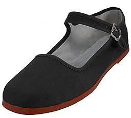 Womens Cotton Mary Jane Shoes Ballerina Ballet Flats Shoes (9, Black 114)