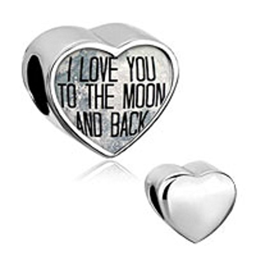 b54dc14d8e06b LuckyJewelry Heart Cheap Beads Sale I Love You To The Moon and Back Charm  Photo fit Pandora Bracelet