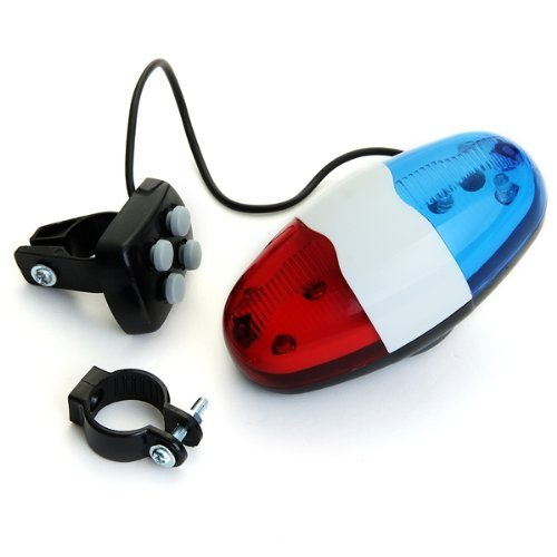 Toogoo(R) 6 Led 4 Tone Sounds Bike Bicycle Horn Bell Police Car Light Trumpet