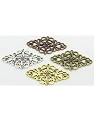 30 PC Four Color Hollow Filigree Flower Charm Connectors, Jewelry Making DIY, 24mm X 41mm