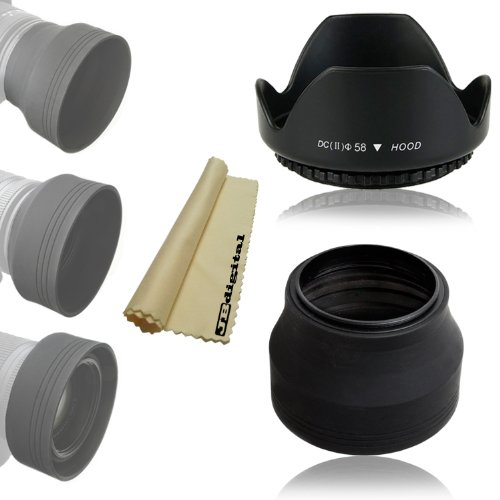 58Mm Soft Rubber Collapsible Lens Hood + 58Mm Tulip Flower Lens Hood + Jb Digital Soft Microfiber Cleaning Cloth For Canon Eos Rebel T5I T4I T3I T3 T2I T1I Canon Digital Rebel Xt Xti Xs Xsi, Canon Eos 700D 650D 600D 550D 500D 60D 7D 30D 20D 10D 5D Mark Ii