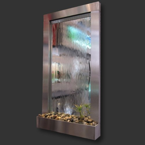 Modern Home Stainless Steel Wall Waterfall Fountain w/Mirror Inset - Indoor/Outdoor W1