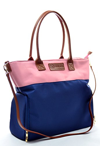 "Review Of Sarah Wells ""Abby"" Breast Pump Bag, Real Leather Straps (Blush Pink/Marine Blue)"