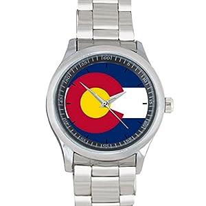 Colorado Flag Round FILGO089 Stainless Steel Wrist Watches