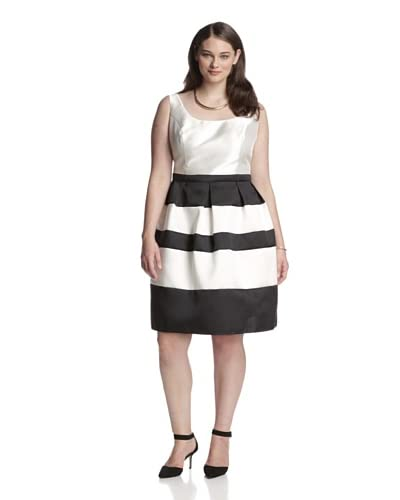 A.B.S by Allen Schwartz Plus Women's Striped Fit-and-Flare Dress