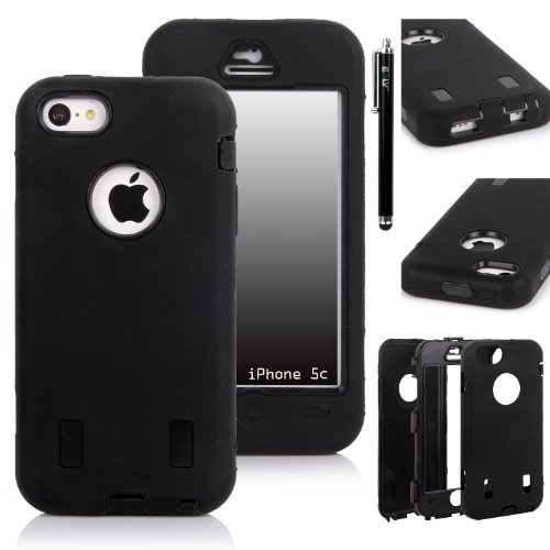 Iphone 5C Case, E Lv Iphone 5C Case - Heavy Duty Rugged Dual Layer Hybrid Armor Defender Case Cover For Iphone 5C [Shock-Absorption / Impact Resistant] With 1 Screen Protector, 1 Black Stylus And 1 Microfiber Sticker Digital Cleaner (Apple Iphone 5C) - Bl