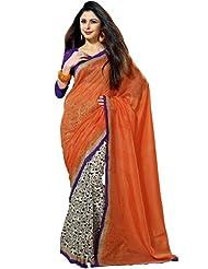 Prafful Silk Bhagalpuri Printed Saree With Unstitched Blouse - B00KNURV9A