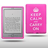 "AMAZON KINDLE 4 KEEP CALM & CARRY ON SILIKON SKIN CASE SCHUTZH�LLE IN ROSA (PINK) / WEI�von ""CELLAPOD"""