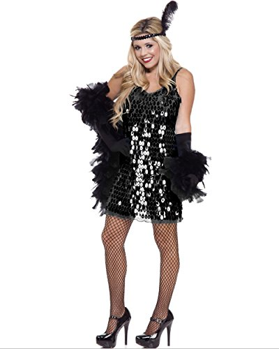 Womens Sexy Black Sequin Roaring 20's Flapper Dress Costume
