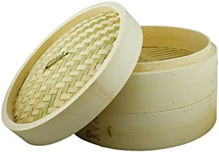 Swift Spice 25 cm/ 10-inch Bamboo Steamer Setwith 2 Layers and lid