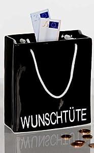 Spardose Wunschtüte aus Porzellan in Schwarz glasiert 9 x 8 x 5 cm Casablanca Nr 96433