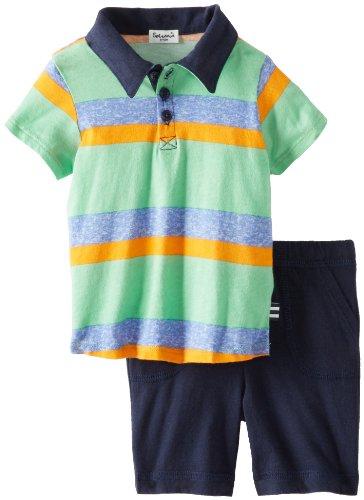 Splendid Littles Baby-Boys Newborn Asher Stripe Short Sleeve Polo Short Set, Vintage Kelly, 6-12 Months front-818349