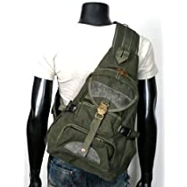 Mens Rugged Single-shoulder Crossbody Canvas Backpack - Army Green
