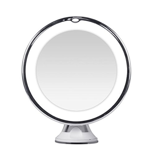 KEDSUM 10x Magnifying LED Lighted Travel Makeup Mirror Bathroom Vanity With Strong Suction Cup Daylight Color