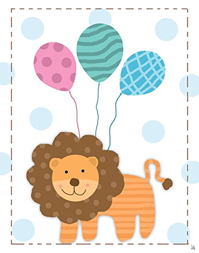 Green Leaf Art Lions and Balloons Canvas Art