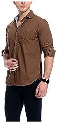 Bolt Men's Casual Shirt (bolt001, Brown, L)
