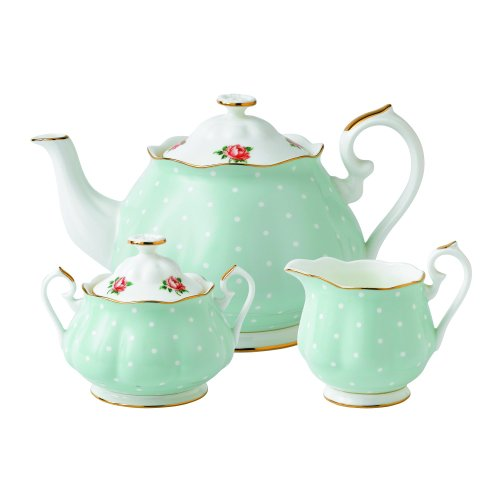 Fantastic Deal! Royal Albert New Country Roses Polka Rose Tea Set, 3-Piece