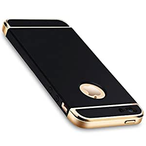 Elv ( Anti-Scratch ) ( Slim ) ( Hybrid ) Case For Apple Iphone 5S/Se/5 Case - Chrome 3 Piece Hybrid Protective Case Black/ Gold.