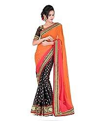 MDS Chiffon Embriodered Designer Orange saree