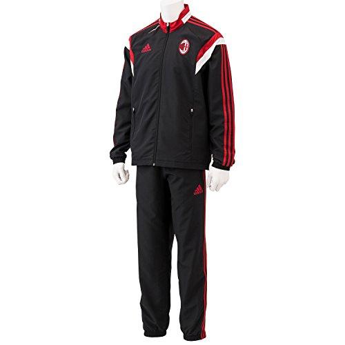 (アディダス)adidas ACミラン トレーニング プレゼンテーション スーツ DCG49 F83747 ブラック/ビクトリーレッドS04/コアホワイト J/L