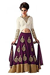 Georgette Party Wear Lehenga Suit in Purple and White Colour