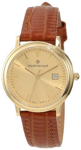 Claude Bernard Women's 31211 37J DI Classic Ladies Gold PVD Gold Dial Leather Date Watch