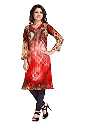 The Ethnic Chic Women's Red Color Crepe Kurti.