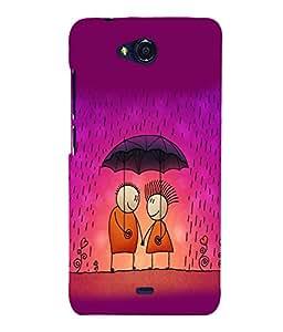 printtech Love Couple Raining Back Case Cover for MicromaxBolt Q335
