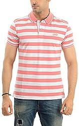 Lead & Ride Men's Polo Neck T-Shirt (220 pink striper_xx-large, Pink, XX-Large)