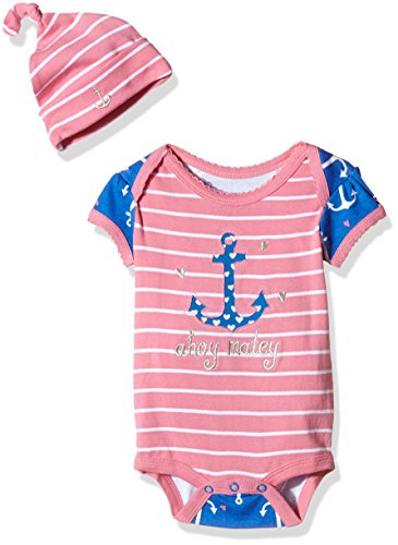 Hatley LBH Infant One Piece Nautical Anchors - Set Body + berretto Bimba 0-24, rosa, 6 mesi
